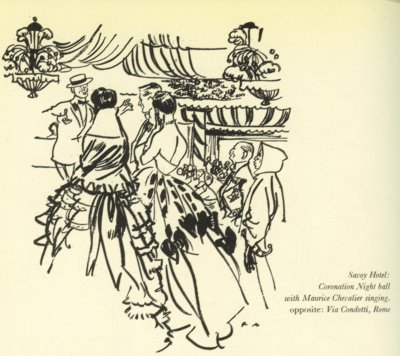 Maurice Chevalier at Coronation Party, Drawn by Francis Marshall