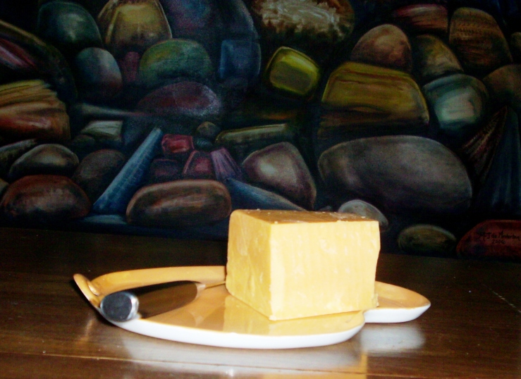 Cheddar Cheese and Rock Painting by M- de Mesterton, Photo Copyright 2009