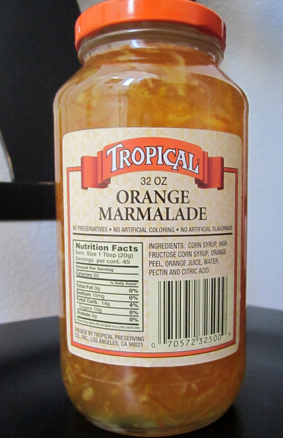 Corn Syrup and High Fructose Corn Syrup are the First Two Ingredients in Tropical Marmalade Made in Los Angeles